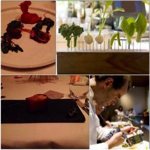 Goat with Spinach & Tomato; Baby Heirloom Broccoli, Hakurei Turnips, & Baby Bok Choy; Chef Dan Barber