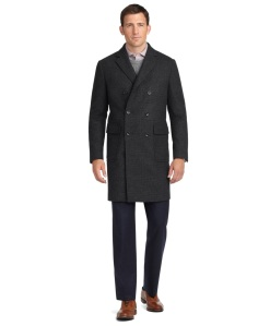 Wool Double Breasted Top Coat with Bemberg Linen and Horn Butttons by Brooks Brothers